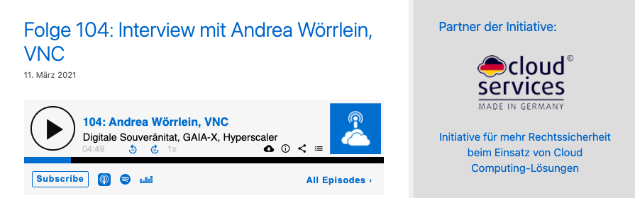 Podcast: Andrea Wörrlein bei Cloud Computing Report