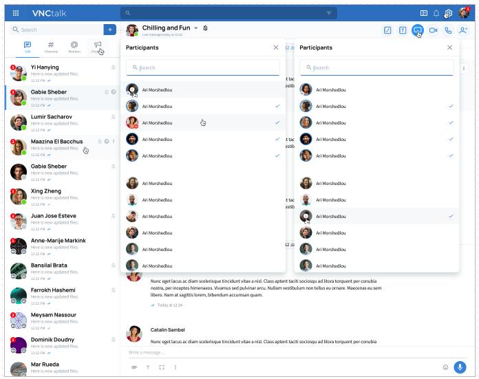 new select participants screen
